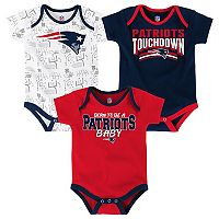 Baby New England Patriots Playmaker 3-Pack Bodysuit Set
