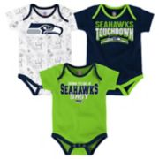 Baby Seattle Seahawks Playmaker 3-Pack Bodysuit Set