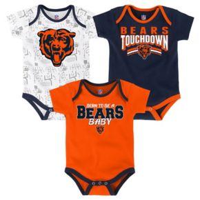 Baby Chicago Bears Playmaker 3-Pack Bodysuit Set