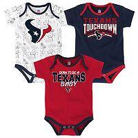 Baby Houston Texans Playmaker 3-Pack Bodysuit Set