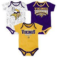 Baby Minnesota Vikings Playmaker 3-Pack Bodysuit Set