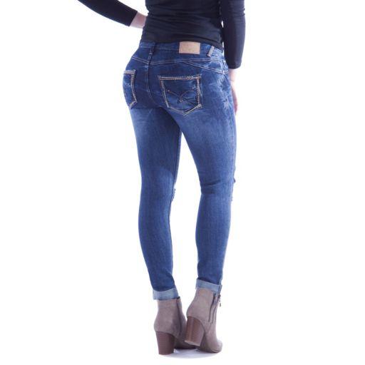 Juniors' Amethyst Ripped Cuffed Skinny Jeans