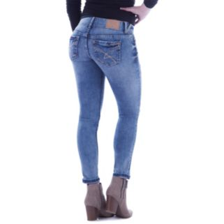 Juniors' Amethyst Faded Ripped Skinny Jeans