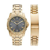 Elgin Men's Crystal Watch & ID Bracelet Set