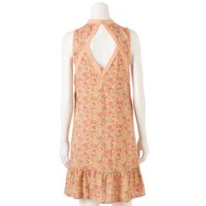 Women's LC Lauren Conrad Print Lace-Trim Shift Dress