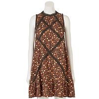Women's LC Lauren Conrad Print Lace-Trim Shift Dress