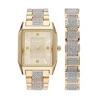 Elgin Men's Crystal Pave Watch & Bracelet Set