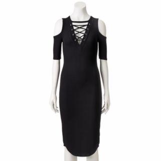 Juniors' Almost Famous Lace-Up Cold-Shoulder Bodycon Dress
