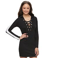 Juniors' Almost Famous Lace Up Colorblock Sleeve Dress