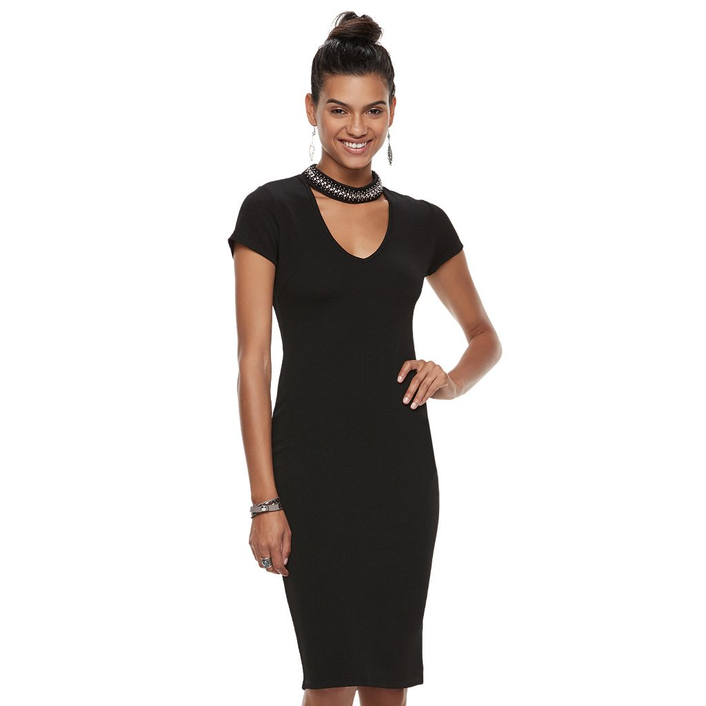 Juniors' Almost Famous Embellished Choker Neck Bodycon Dress