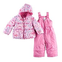 Baby Girl ZeroXposur Abigail Ribbons & Bows Heavyweight Bib Snowsuit & Jacket Set