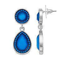 Blue Beaded Halo Double Drop Nickel Free Teardrop Earrings