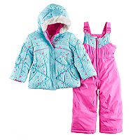 Toddler Girl ZeroXposur Mirage Heavyweight Bib Snowsuit & Jacket Set