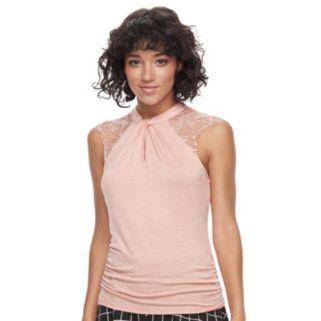 Juniors' HeartSoul Lace Shoulder Sleeveless Top