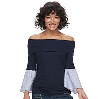 Juniors' HeartSoul Bell Sleeve Off Shoulder Top