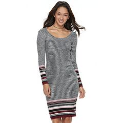 Juniors' Almost Famous Marled Striped Hem Sweater Dress