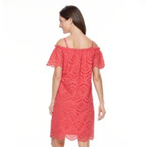 Women's Hope & Harlow Off The Shoulder Provence Eyelet Dress