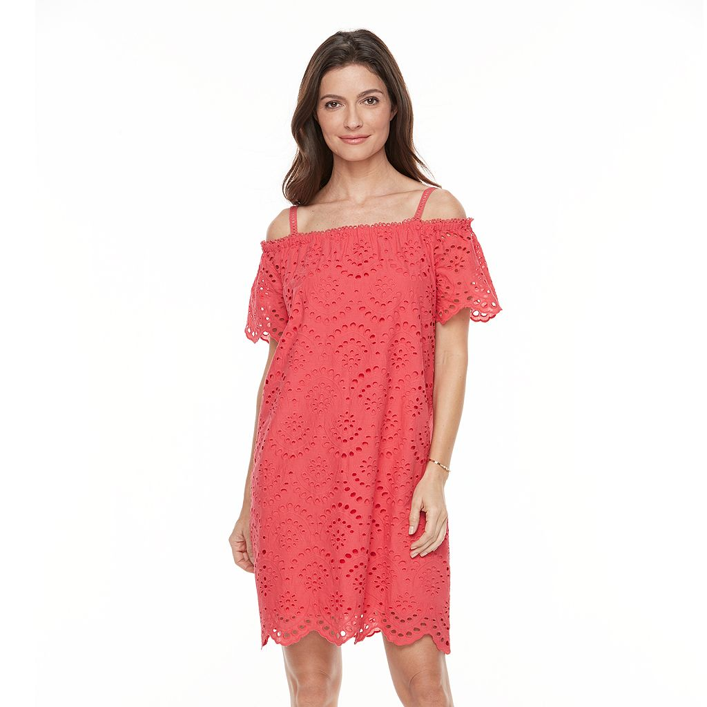 Women's Hope & Harlow Off The Shoulder Provence Eyelet Dress