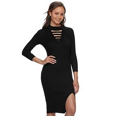 Juniors' Almost Famous Strappy Choker Neck Bodycon Dress