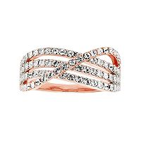 Diamond Essence 18k Rose Gold Plated Crystal Crisscross Ring