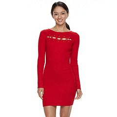 Juniors' Almost Famous Ribbed Cutout Mini Dress