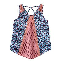 Girls 7-16 Self Esteem Lace Shoulder Mixed Print Tank Top