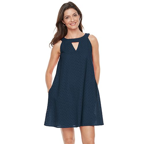 Women's Hope & Harlow Sleeveless Halter Strap Eyelet Dress