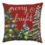 "St. Nicholas Square® ''Merry & Bright"" Tree Lights LED Throw Pillow"