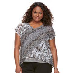 Plus Size Dana Buchman Layered Mesh V-Neck Top