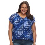 Plus Size Dana Buchman Layered Mesh V-Neck Top