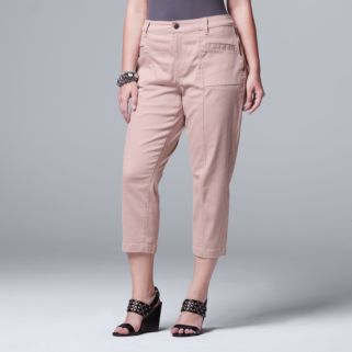 Plus Size Simply Vera Vera Wang Twill Ankle Pants