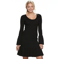 Juniors' Almost Famous Bell Sleeve Sweater Dress