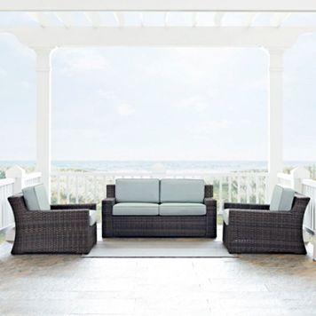 Crosley Furniture Beaufort Patio Loveseat & Arm Chair 3-piece Set