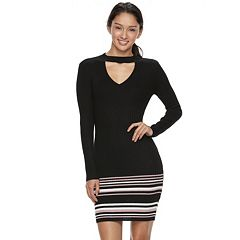 Juniors' Almost Famous Cut-Out Ribbed Sweater Dress