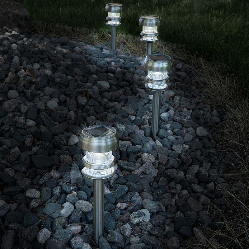 Navarro Outdoor Solar LED Path Light Garden Stake 4-piece Set. Silver