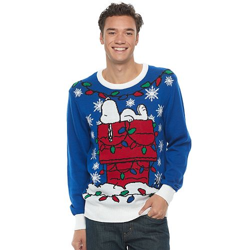 mens peanuts snoopy ugly christmas sweater