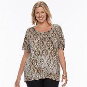 Plus Size Dana Buchman Dolman Mixed-Media Top