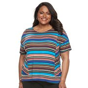 Plus Size Dana Buchman Dolman Mixed-Media Top