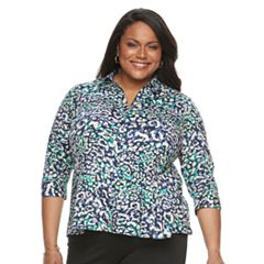 Plus Size Dana Buchman Pleated Peplum Shirt