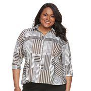 Plus Size Dana Buchman Pleated Peplum Shirt