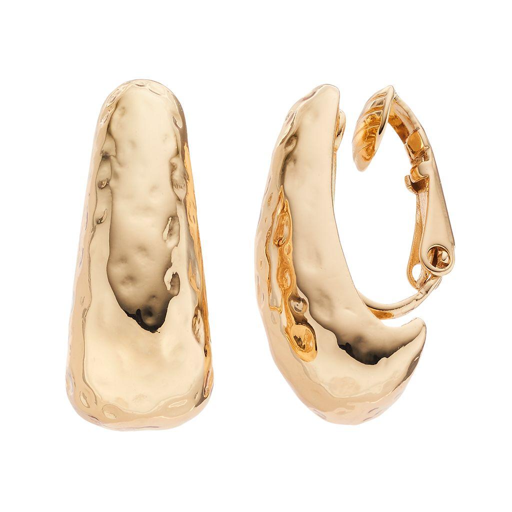 Dana Buchman Hammered Nickel Free Clip On Hoop Earrings
