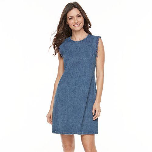 Women's Hope & Harlow Sleeveless Ruffle Denim Shift Dress