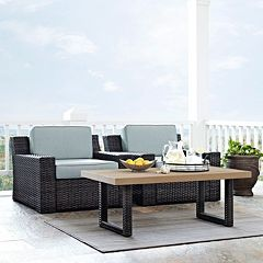 Crosley Furniture Beaufort Patio Arm Chair & Coffee Table 3 pc Set