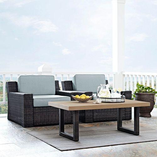 Crosley Furniture Beaufort Patio Arm Chair & Coffee Table 3-piece Set