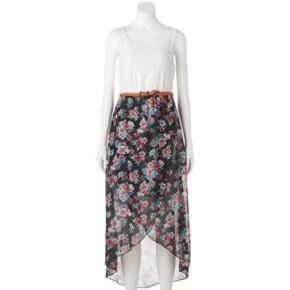 Juniors' Almost Famous Floral High-Low Maxi Dress