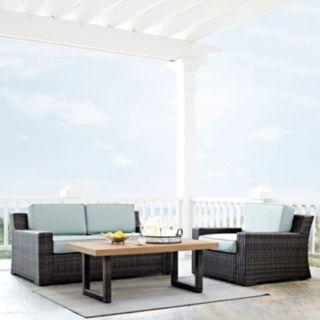 Crosley Furniture Beaufort Patio Loveseat, Chair & Coffee Table 3-piece Set