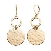 Dana Buchman Hammered Disc Nickel Free Drop Earrings