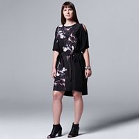 Plus Size Simply Vera Vera Wang Floral Cold-Shoulder Shift Dress