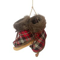 St. Nicholas Square® Faux-Fur Plaid Ice Skates Christmas Ornament