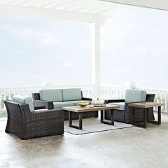 Crosley Furniture Beaufort Patio Loveseat, Arm Chair, Coffee Table & End Table 5 pc Set